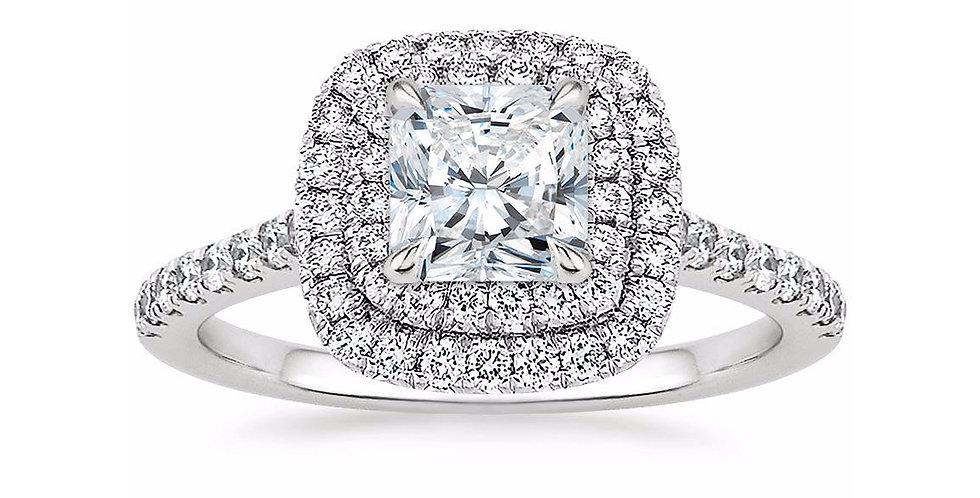 """""""LOUISE"""" RADIANT DIAMOND DOUBLE HALO ENGAGEMENT RING"""