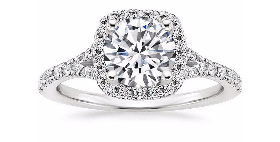"""LIANE"" ROUND DIAMOND HALO SPLIT SHANK ENGAGEMENT RING"