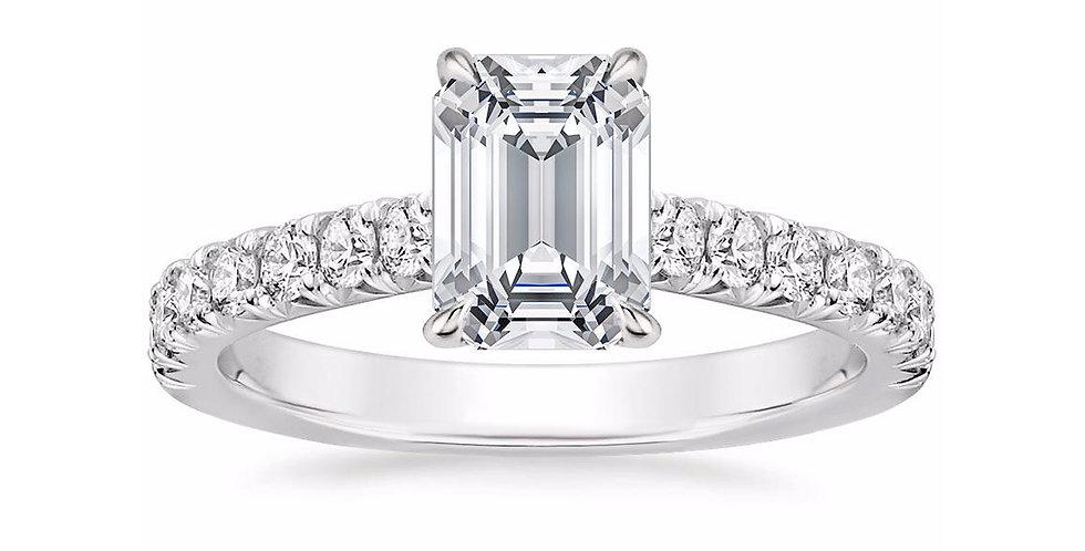 """LOUISA"" EMERALD DIAMOND SOLITAIRE ENGAGEMENT RING"