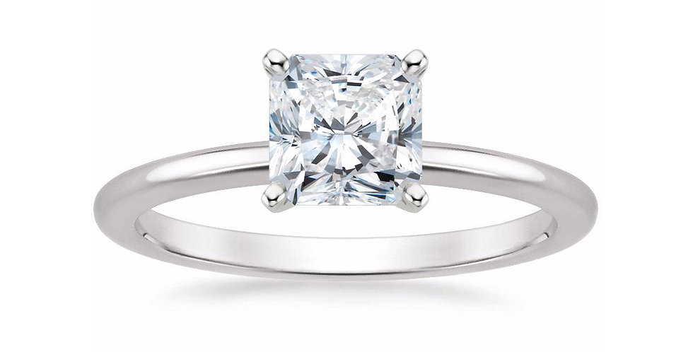 RADIANT DIAMOND FOUR-PRONG SOLITAIRE ENGAGEMENT RING