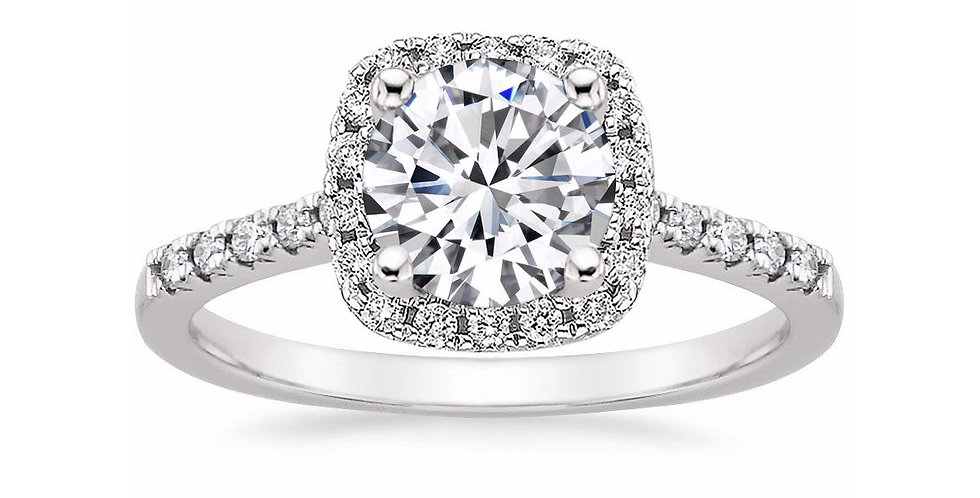 """""""LOU"""" ROUND DIAMOND HALO PAVÉ ENGAGEMENT RING"""