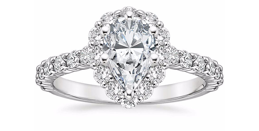 """LANA"" PEAR DIAMOND HALO ENGAGEMENT RING"