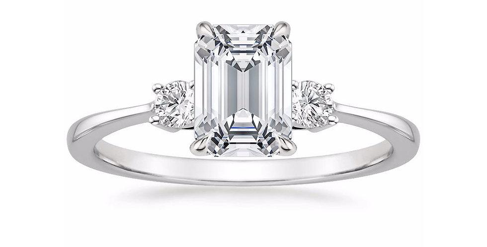 """LIZA"" EMERALD DIAMOND THREE STONE ENGAGEMENT RING"