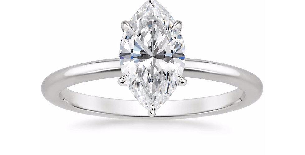 """LIA"" MARQUISE DIAMOND SECRET HALO ENGAGEMENT RING"