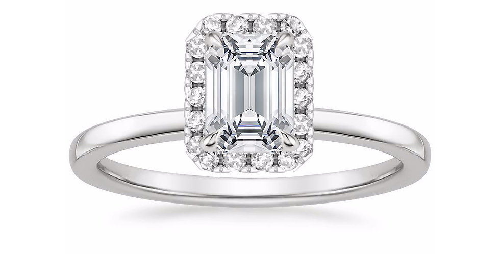 """LIZZIE"" EMERALD DIAMOND HALO ENGAGEMENT RING"