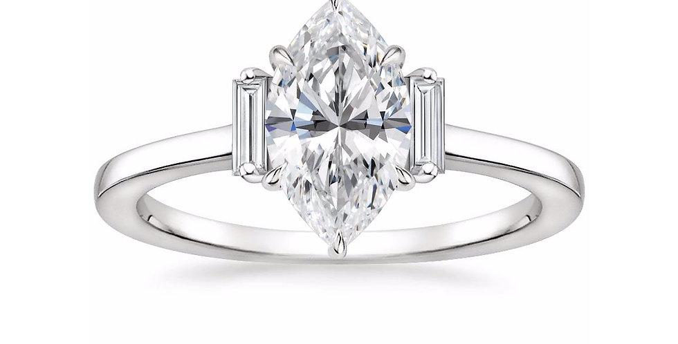 """LILAH"" MARQUISE DIAMOND THREE STONE ENGAGEMENT RING"