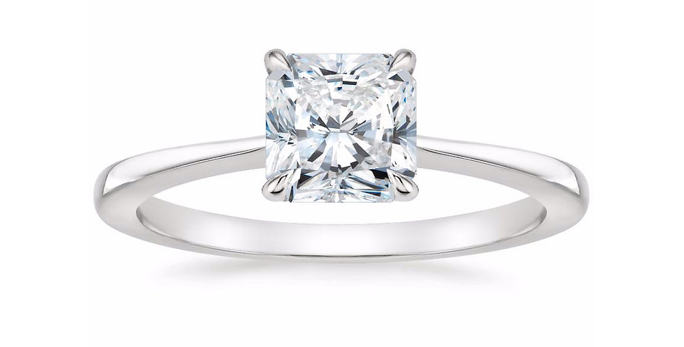 """""""LEAH"""" RADIANT DIAMOND TAPERED ENGAGEMENT RING"""
