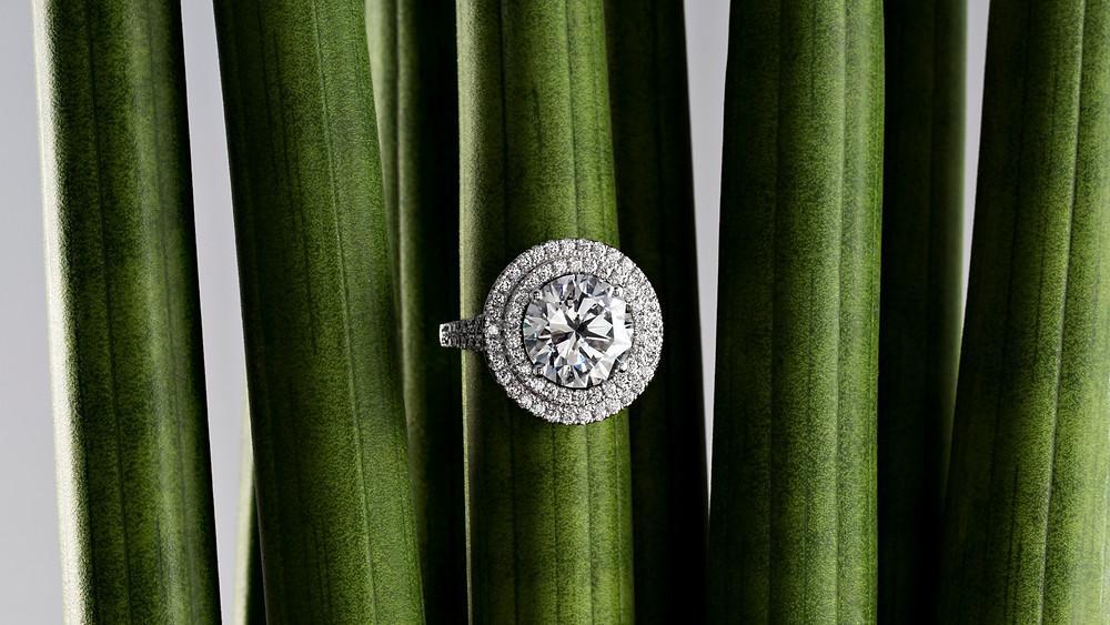 Custom design round diamond double halo engagement ring
