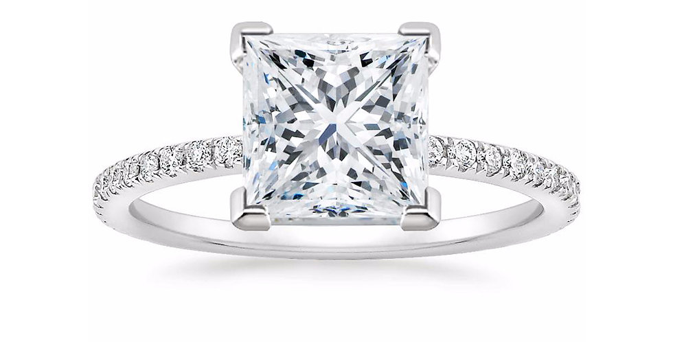 """LILY"" PRINCESS DIAMOND PAVÉ BAND SOLITAIRE ENGAGEMENT RING"