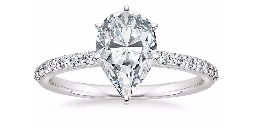 PEAR DIAMOND PAVÉ BAND SOLITAIRE ENGAGEMENT RING