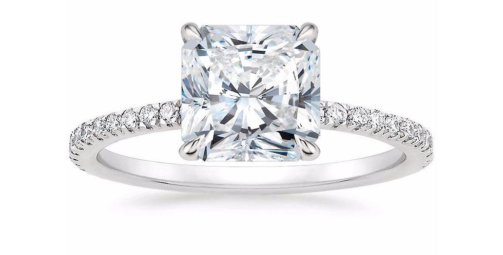 """LOLA"" RADIANT DIAMOND PAVÉ SOLITAIRE ENGAGEMENT RING"