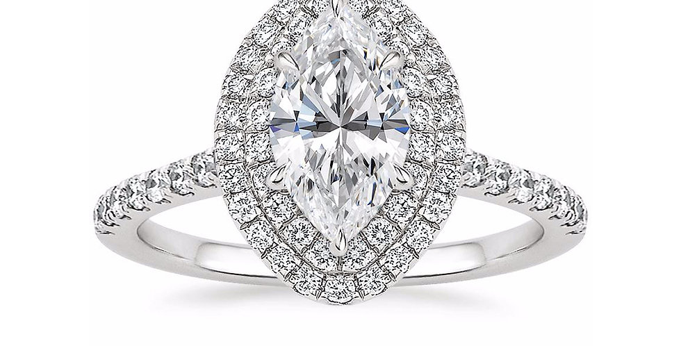"""LOUISE"" MARQUISE DIAMOND DOUBLE HALO ENGAGEMENT RING"
