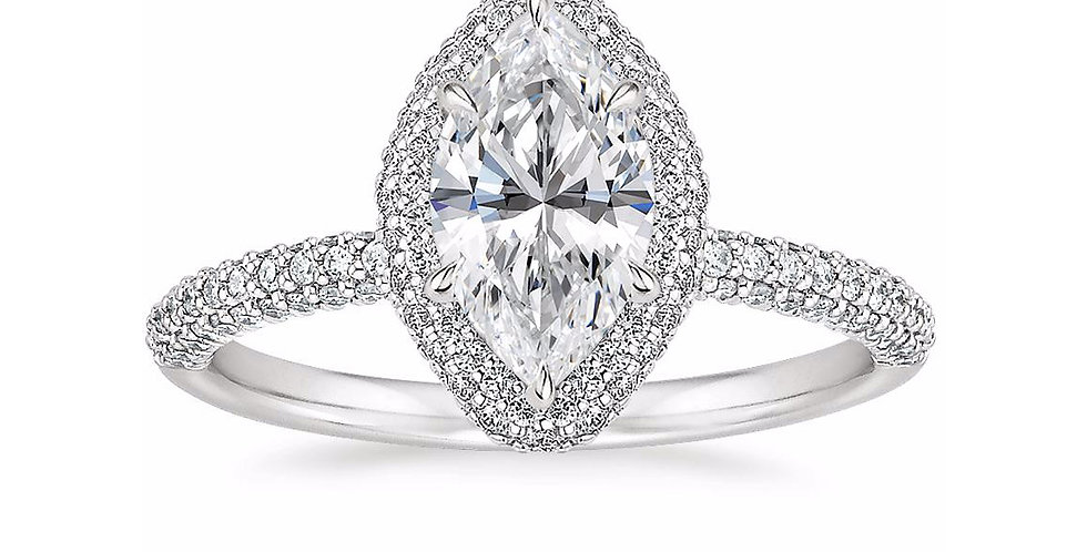 """LION"" MARQUISE DIAMOND DOUBLE HALO ENGAGEMENT RING"