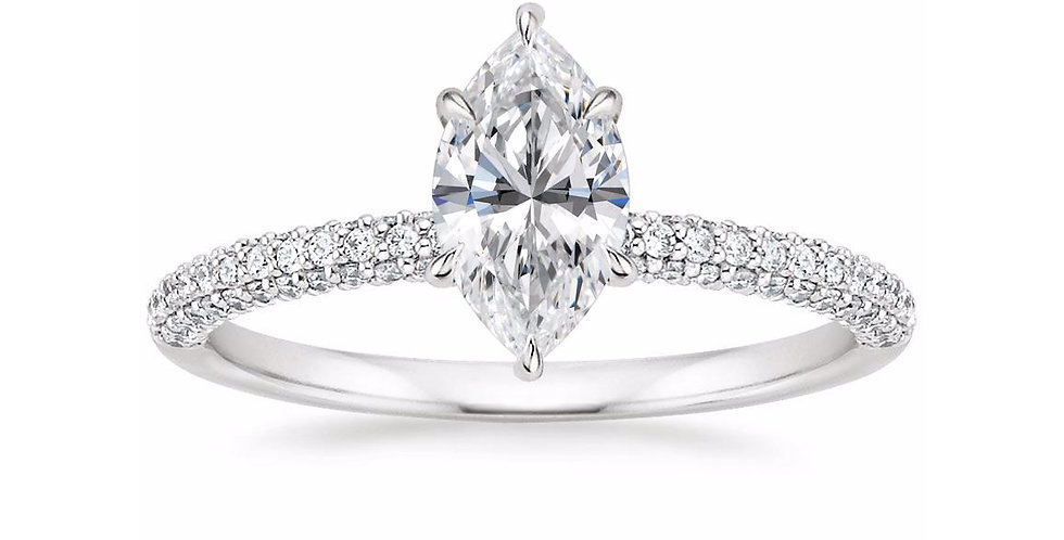 """LARA"" MARQUISE DIAMOND MICRO-PAVÉ SOLITAIRE ENGAGEMENT RING"