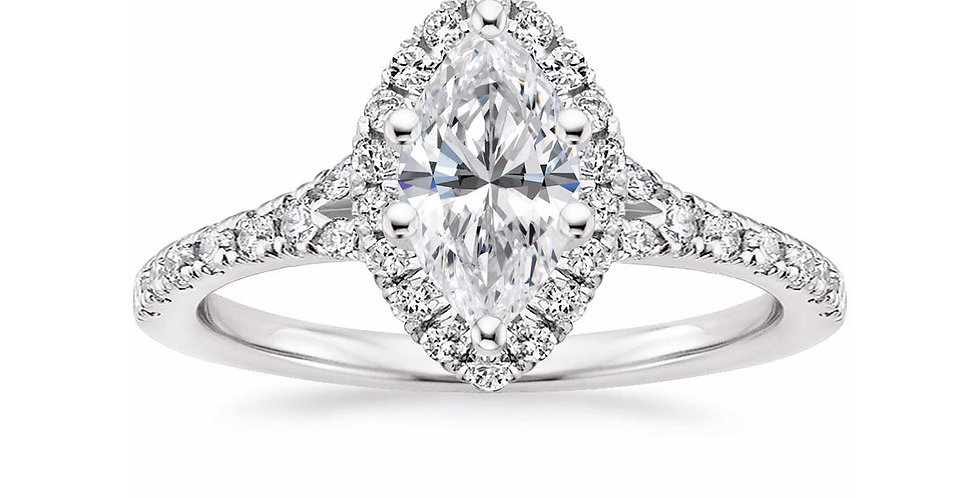 """LIANE"" MARQUISE DIAMOND HALO SPLIT SHANK ENGAGEMENT RING"