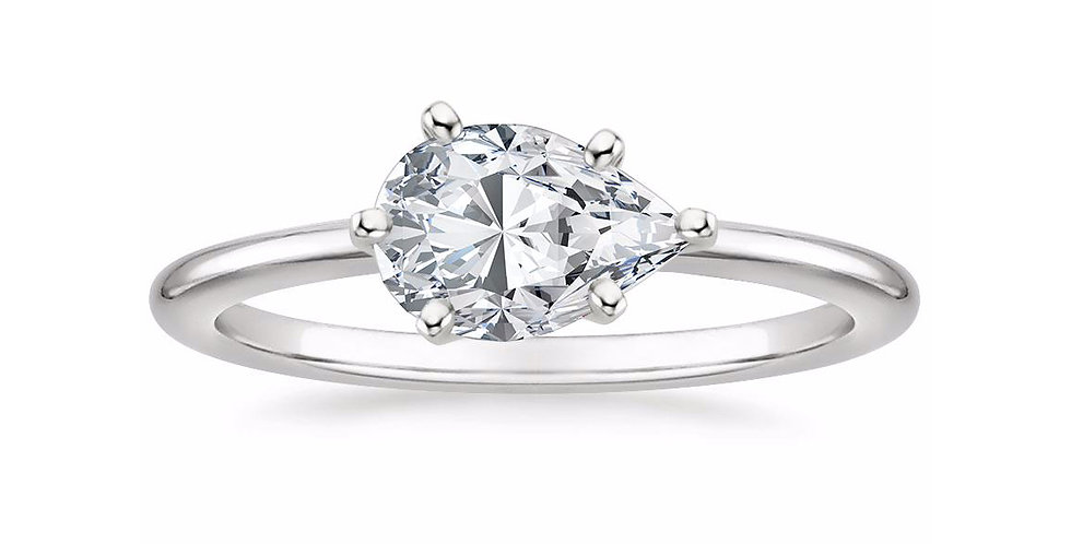 """LAUREN"" PEAR DIAMOND EAST-WEST ENGAGEMENT RING"