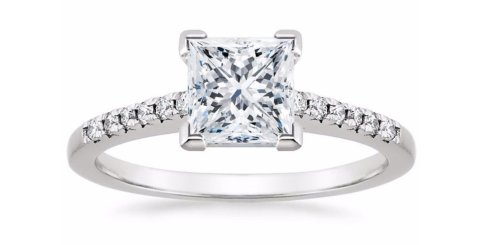 """""""LESSIE"""" PRINCESS DIAMOND CATHEDRAL ENGAGEMENT RING"""