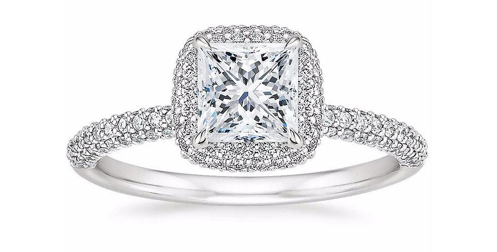 """LION"" PRINCESS DIAMOND DOUBLE HALO ENGAGEMENT RING"