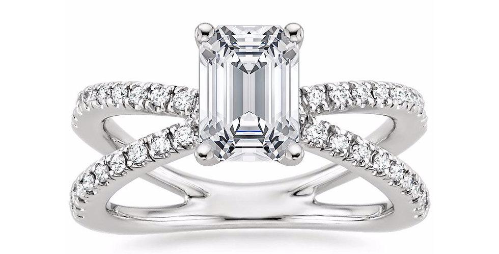 """""""LAURA"""" EMERALD DIAMOND DESIGNER ENGAGEMENT RING"""