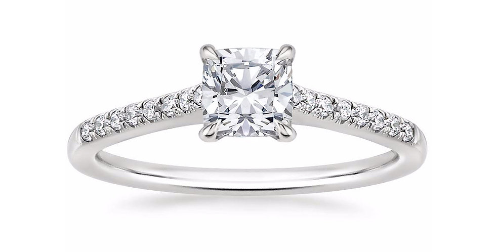"""LUCY"" CUSHION DIAMOND CATHEDRAL SOLITAIRE ENGAGEMENT RING"