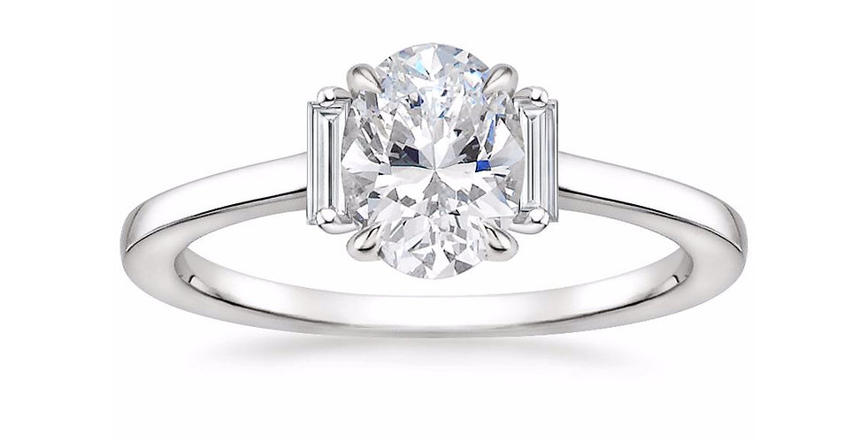 """LILAH"" OVAL DIAMOND THREE STONE ENGAGEMENT RING"
