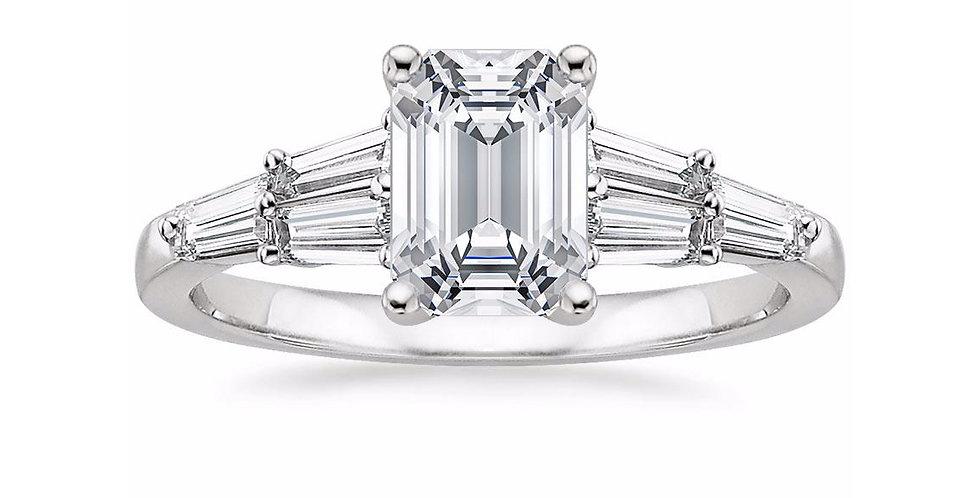 """""""LEA"""" EMERALD DIAMOND DESIGNER ENGAGEMENT RING"""