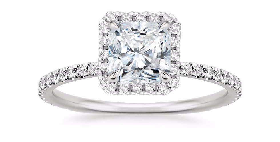 RADIANT DIAMOND HALO PAVÉ ENGAGEMENT RING