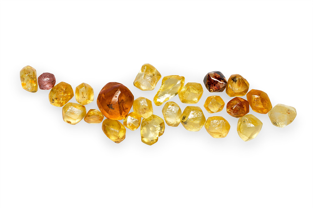 Rough Zimmi diamonds - the rarest yellow diamonds in the world