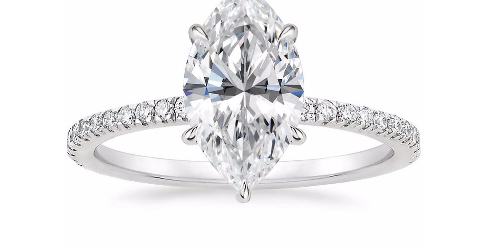 """LOLA"" MARQUISE DIAMOND PAVÉ SOLITAIRE ENGAGEMENT RING"