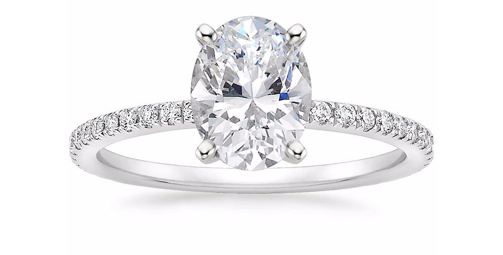 """LILY"" OVAL DIAMOND PAVÉ BAND SOLITAIRE ENGAGEMENT RING"