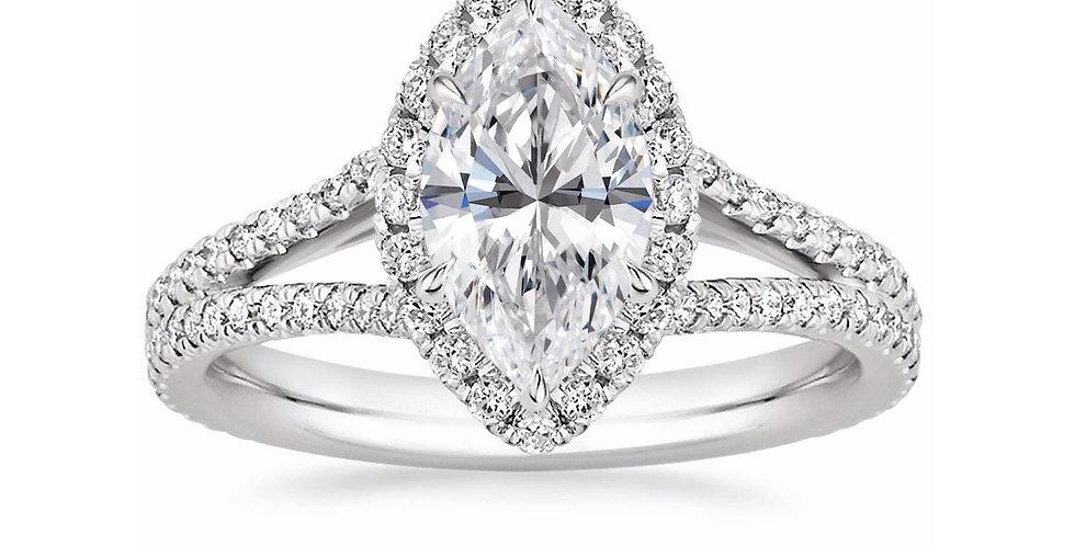 """LINDA"" MARQUISE DIAMOND HALO SPLIT SHANK ENGAGEMENT RING"