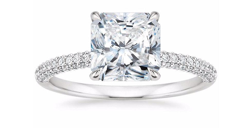 """LARA"" RADIANT DIAMOND MICRO-PAVÉ SOLITAIRE ENGAGEMENT RING"