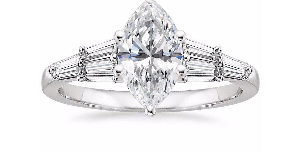 """""""LEA"""" MARQUISE DIAMOND DESIGNER ENGAGEMENT RING"""