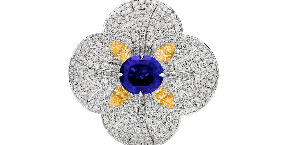 NATURAL BLUE SAPPHIRE AND ORANGE DIAMOND FLOWER RING