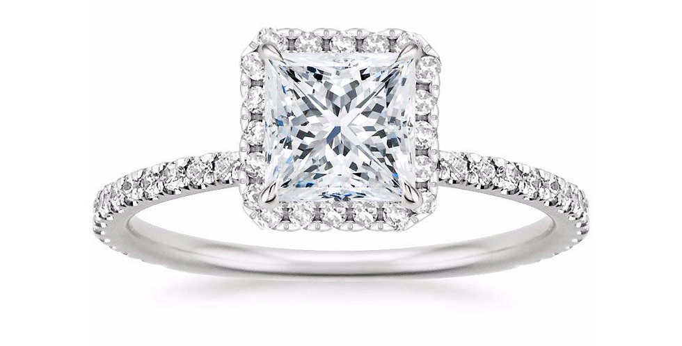 PRINCESS DIAMOND HALO PAVÉ ENGAGEMENT RING