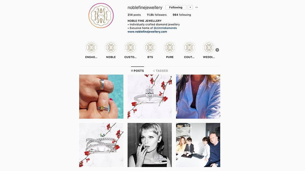Noble Fine Jewellery Instagram Account