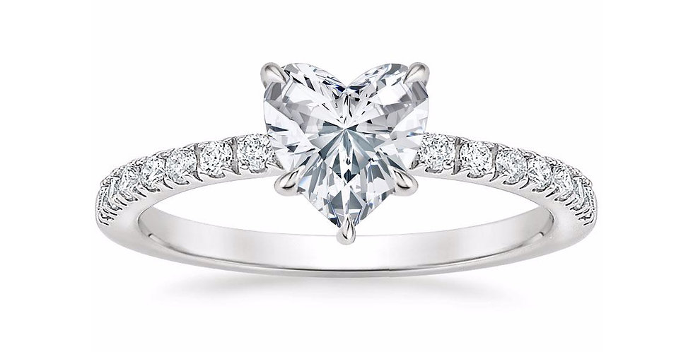 """LUNA"" HEART DIAMOND PAVÉ SOLITAIRE ENGAGEMENT RING"
