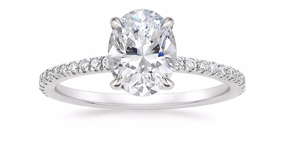 """LOLA"" OVAL DIAMOND PAVÉ SOLITAIRE ENGAGEMENT RING"