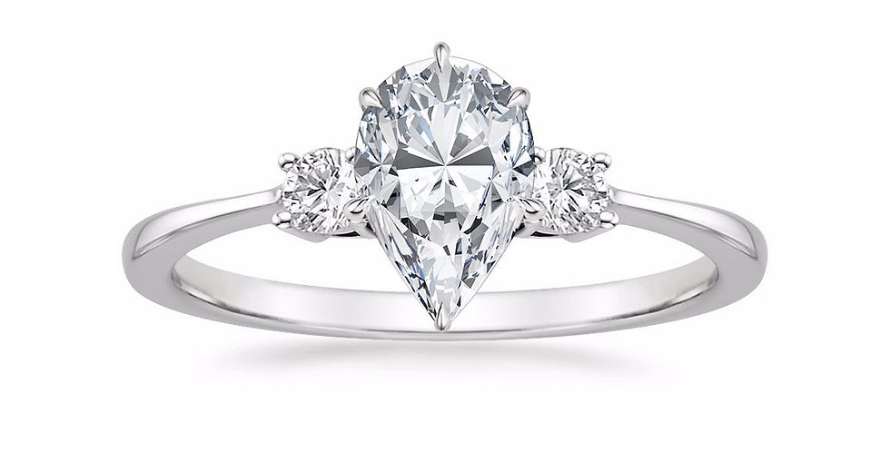 """LIZA"" PEAR DIAMOND THREE STONE ENGAGEMENT RING"