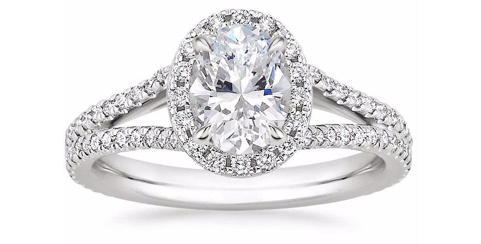 """LINDA"" OVAL DIAMOND HALO SPLIT SHANK ENGAGEMENT RING"