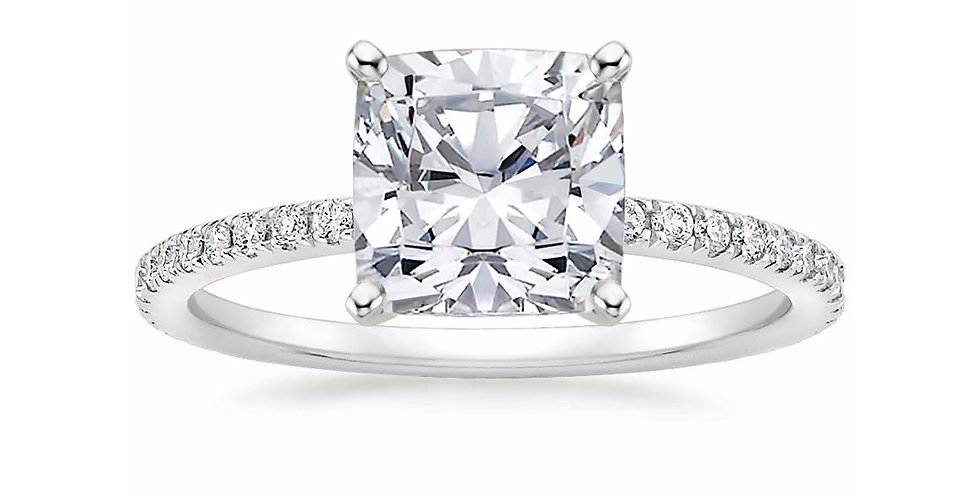 """LILY"" CUSHION DIAMOND PAVÉ BAND SOLITAIRE ENGAGEMENT RING"