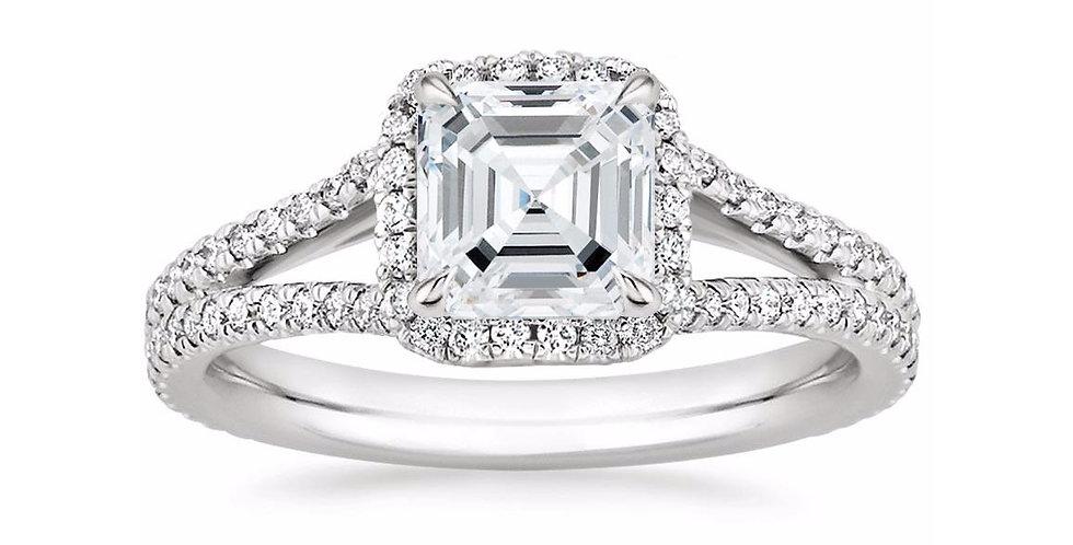 """LINDA"" ASSCHER DIAMOND HALO SPLIT SHANK ENGAGEMENT RING"