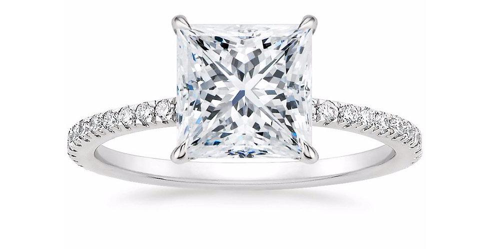 """LOLA"" PRINCESS DIAMOND PAVÉ SOLITAIRE ENGAGEMENT RING"