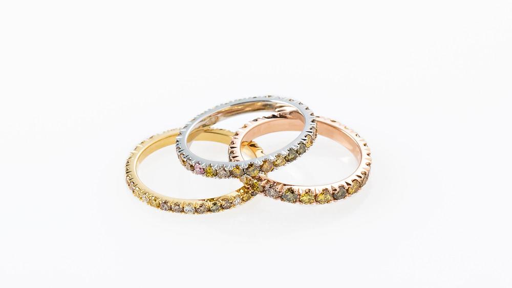 Multicoloured diamond eternity bands