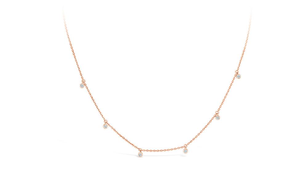 """Karly"" Diamond necklace in 18K Rose Gold"