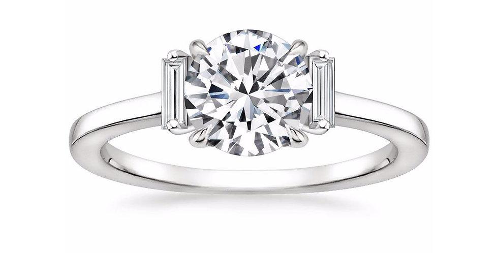 """""""LILAH"""" ROUND DIAMOND THREE STONE ENGAGEMENT RING"""