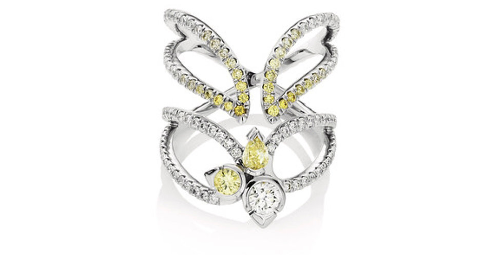 """STELLAR"" WHITE AND YELLOW DIAMOND RING"