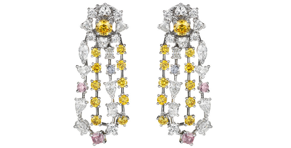 """RAINBOW"" FANCY COLOURED DIAMOND EARRINGS"