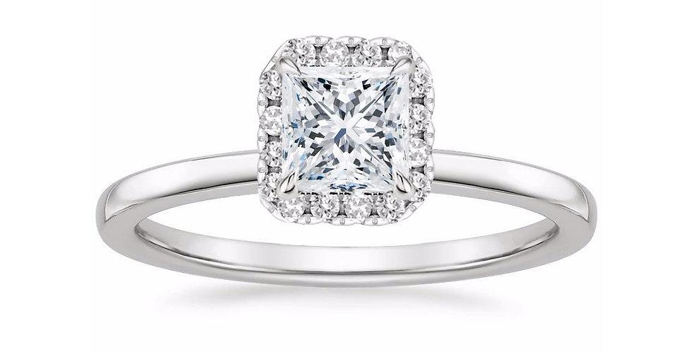"""LIZZIE"" PRINCESS DIAMOND HALO ENGAGEMENT RING"