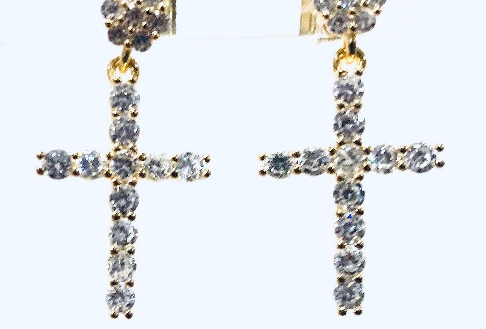 Sterling Silver Mini Cross Earrings